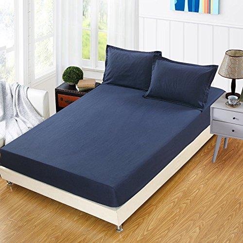 3-teiliges Leder-bett (BBQBQ Matratzenbezug für Allergiker, Milbenbezug - Matratzenschutz, atmungsaktiv,Bettdecke Einzelteilset Marine 150x200 Höhe 28 cm)