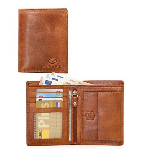 ALMADIH ® Slim Leder Portemonnaie Hochformat Schmal für Gesäßtasche 13 Kartenfächer mit Geschenkbox (P0H BT-V) Herren Börse Geldbörse Geldbeutel Brieftasche Portmonee Cognac Vintage (P0H Braun Tan)