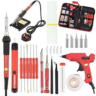 Soldering Iron Kit,NEWACALOX 60W Temperature Adjustable Soldering Iron with Hot Melt Glue Gun and Glue Sticks,Desoldering Pump,6pc Solder assists (Gunkit)