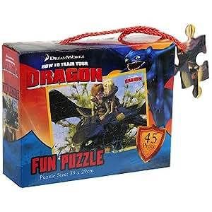 Dragons – Fun Puzzle – Vol sur Krokmou – Puzzle 39x29cm – 45 Pièces (Import UK)