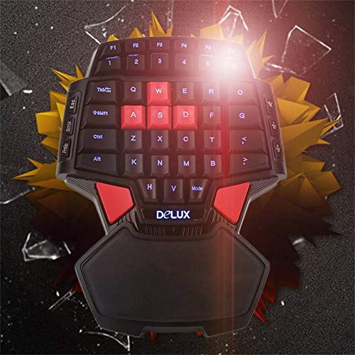 PubricFo T9 47 Keys Mini Professional USB Wired Gaming Keyboard Double Space Key One/Single Hand Gaming Keyboard -
