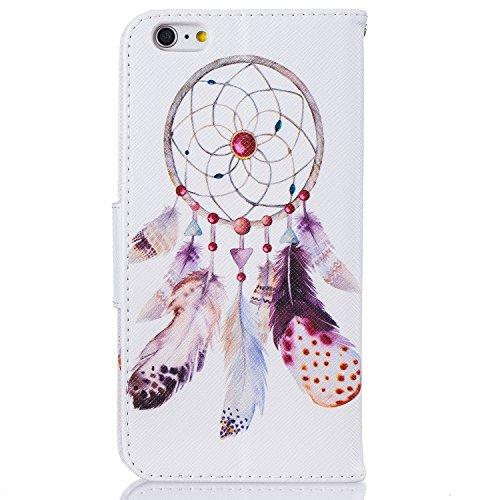 Voguecase® Pour Apple iPhone 6/6s 4,7 Coque, Étui en cuir synthétique chic avec fonction support pratique pour iPhone 6/6s 4,7 (petite fleur blanche 04)de Gratuit stylet l'écran aléatoire universelle Campanula plume 13