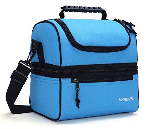 MIER Isolierte Tasche Große Isolierte Kühltasche für Männer, Frauen, Doppeldeck-Kühler (Blau) -
