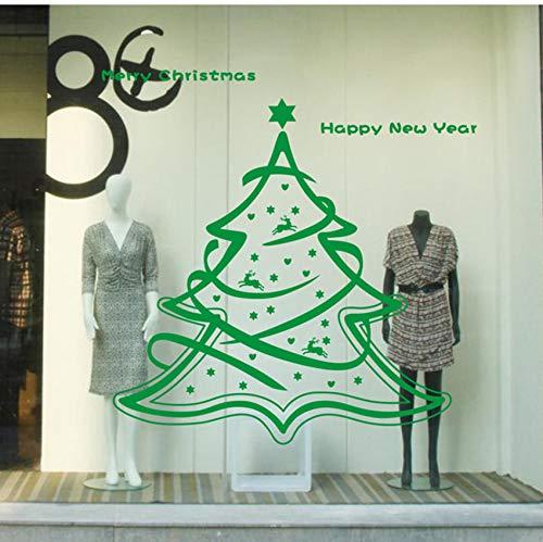 Pbldb Joyeux Noël Arbre Nouvel An Magasins Verre Fenêtre Ornement Décalque Décorations Pour La Maison Décorations De Vinyle Diy Vert Stickers Muraux 58X60Cm
