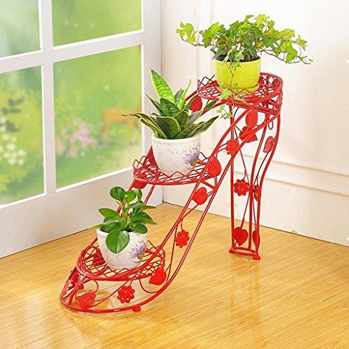 LQQGXL Kreative Mode Blume und Pflanze Racks Hohle Ironie Rahmen High Heels Multi - Storey Regal Indoor Und Outdoor Wohnzimmer Balkon Blumenständer ( Farbe : Rot ) -