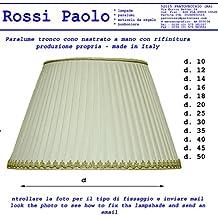 Lámpara Tronco Cono tela plisada nastrato a mano–Producción propria–Made in Italy cm 35