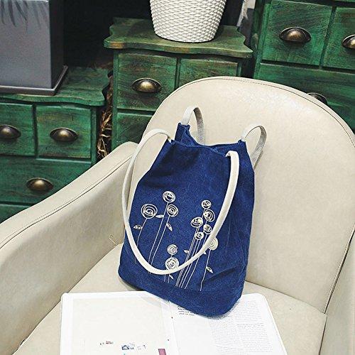 Moda donna tela fiore modello Crossbody singola spalla secchio borsa blu Blue Blue