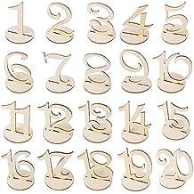 20X Números de Mesa 1-20 para Boda de Madera con Base de Soporte Signo