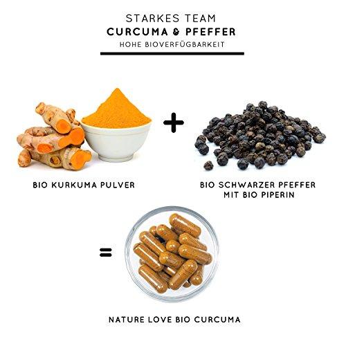 Bio Curcuma (Kurkuma) Kapseln mit 3000 mg pro Tagesdosis – 180 Stück im Monatsvorrat. Zertifiziert Bio. Mit Piperin aus Bio schwarzem Pfeffer. Frei von Zusatzstoffen wie Gelatine oder Magnesiumstearat. Laborgeprüft, mit von Natur aus hohem Curcumin Gehalt. Hochdosiert, vegan und hergestellt in Deutschland - 3