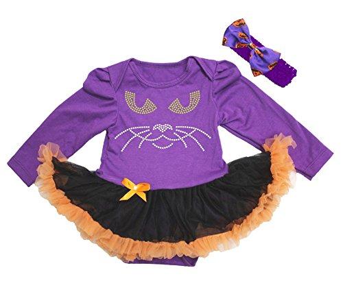 Petitebelle Halloween Baby Dress Cat Face Purple L/s Bodysuit Black Tutu Nb-18m (12-18 (Kind Tutu Black Cat Kostüm)