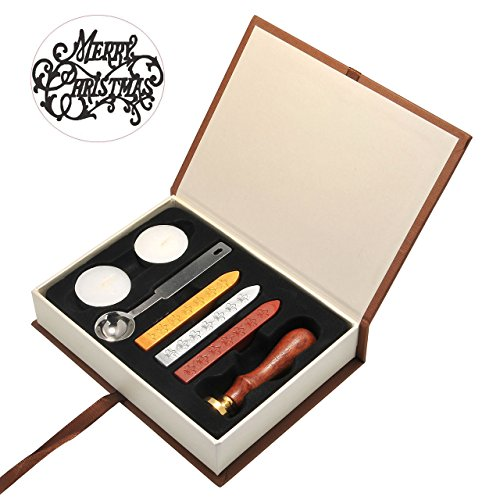 Mogoko Stamp Seal Sealing Wax Kit Retro Classic Vintage Maker Stick Gift Box Set Merry Christmas