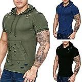 Herren T-Shirt Sannysis Männer T-Shirts Pocket Kurzarm Mode Muscle Hoodies Tops Bluse Shirts