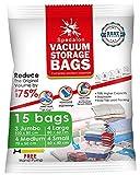Sacs de rangement sous vide - Paquet de 15 (3 jumbo + 4 grands + 4 moyens + 4 petits) - Économiseurs d'espace utilisables avec pompe manuelle gratuite pour l'emballage de voyage. Meilleurs sacs de
