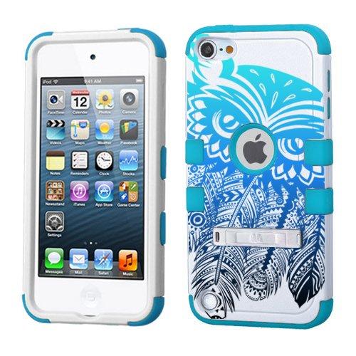 iPod Touch 5. 6. Generation Weiß Kunststoff/Blau Silikon 3-Stil Hybrid Hard Schutzhülle für Apple- für Mädchen und Boys-Shockproof Staubfrei, mit Ständer, Dream Catcher Owl Ombre