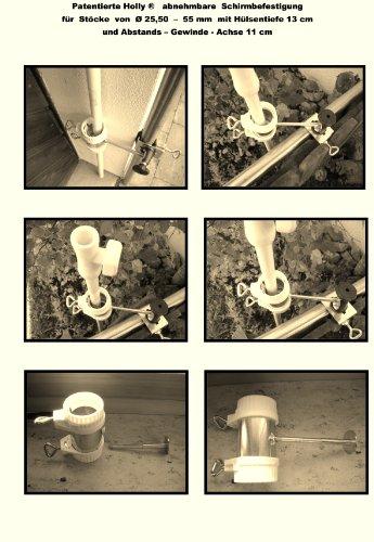 360 ° Housse amovible balcon parapluies breveté - Support pour bâtons jusqu'à Ø 25,50 mm par Holly Stabielo avec 13 cm 15,24 x Douille et 11 cm longue distance de Axe pour fixation avec 5 - pour filetage réglable multi - Le support 360 ° avec capuchons en caoutchouc pour fixer de fixations sur ou eckigen Éléments de 25 à 55 mm Ronds - Fabriqué en Allemagne