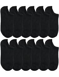 WINOMO 12 paires de chaussettes en coton Coupe-bas Confort No Show Chaussettes Casual chaussettes (noir)