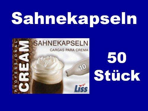 50 Stück Liss Sahnekapseln, geeignet für handelsübliche Sahnebereiter von Liss, Mosa, Kayser, isi