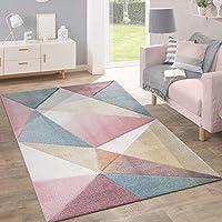 Rug Short-Pile Modern Trendy Pastel Geometric Design Mottled Inspiration Multi from Paco Home