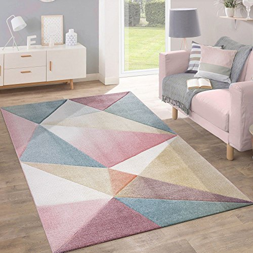 Paco Home Teppich Kurzflor Modern Trendig Pastell Geometrisches Design Inspiration Multi, Grösse:240x320 cm