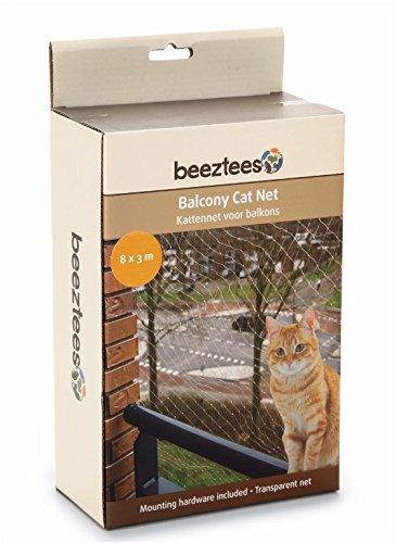 Katzenschutznetz für Balkone 8 x 3 m,  Schutznetz für Katzen komplett, Transparent, Maschengröße 3 x 3 cm durchsichtiges Balkonnetz inkl. Befestigungsmaterial -