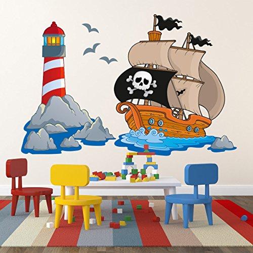Kinderzimmer Wandtattoo Piratenschiff mit Leuchtturm Totenkopf-Flagge 80 x 50cm #151B