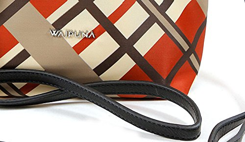 Waipuna, Borsetta da polso donna marrone Brown / Braun Karo orange / braun