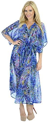 La Leela Super mousseline légère 5 oz mousseux 5 en 1 lounge top usure tunique fête vacances maillot bain occasionnel couvrir dames vêtements nuit ainsi que la taille longue robe soirée caftan Bleu