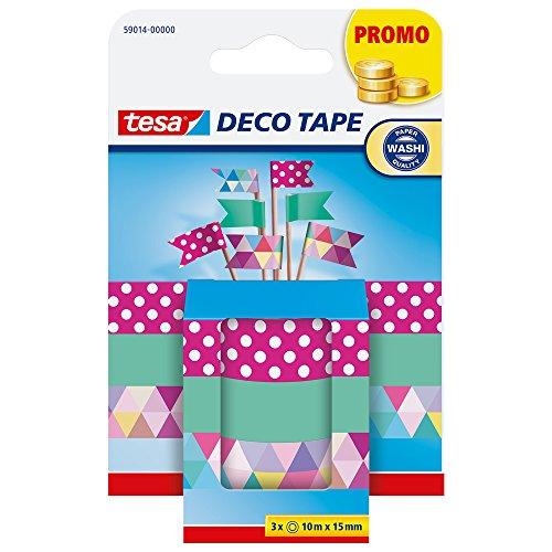 tesa - Deco Tapes Dekoklebeband Washi Masking Tape/ verschiedene bunte Designs DIY/ 3 Rollen a 10m x 15mm