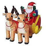 L&Z Aufblasbarer Weihnachtsmann mit Schlitten Nikolaus Rentiere Weihnachten Santa Claus Deko LED Beleuchtet