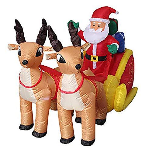 Cnmf babbo natale gonfiabile con slitta nicholas reindeer christmas babbo natale deco led illuminato