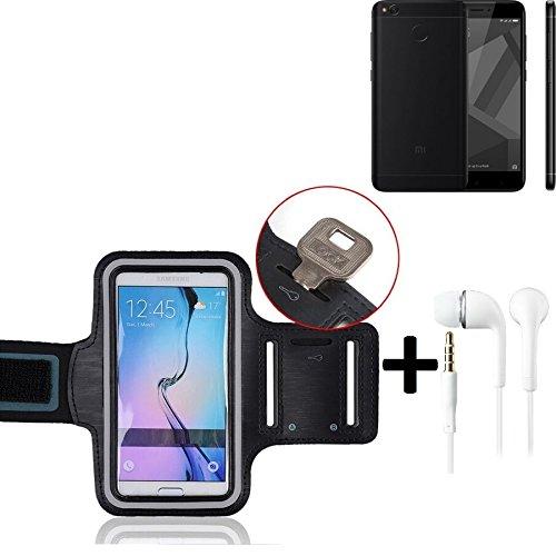 Top Set: neopreno Jogging pulsera brazalete brazo banda para Xiaomi Redmi 4x, Negro Con Reflector rayas + Tapones. Fitness unidad de pulsera