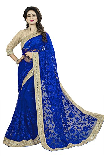 Soru Fashion Net Saree (347_Blue_Free Size)