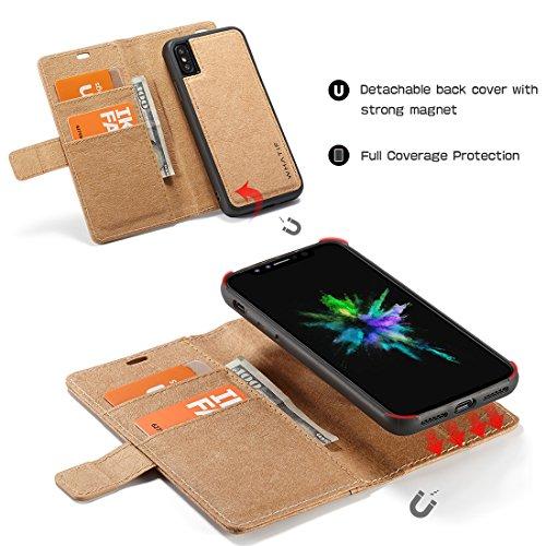 """iPhone 6s Plus Coque, WindCase 2 en 1 Housse à Rabat Portefeuille Amovible Étui en Cuir Magnétique Case de Protection avec Béquille pour iPhone 6 Plus / 6s Plus 5.5"""" Marron Marron"""