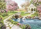 Fototapete Garten Weg Kirschbaum Blüten Pavillon Kirschblüte Gartenweg Teich Schwan XXL 400 x 280 cm - 8 Teile Vlies Tapete Wandtapete - Moderne Vliestapete - Wandbilder - Design Wanddeko - Wand