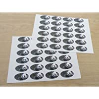 Pack of 48 Panda 40x20mm Oval Seal Labels, Stickers for Craft, Decoration, Gift Wrapping, Presents, Envelopes, Bags or Cards