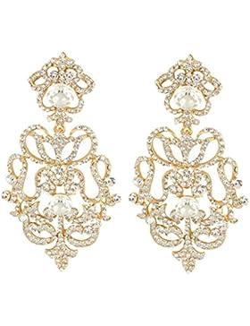 EVER FAITH® österreichische Kristall Hochzeit Blume Dangle Ohrring klar Gold-Ton A08653-3