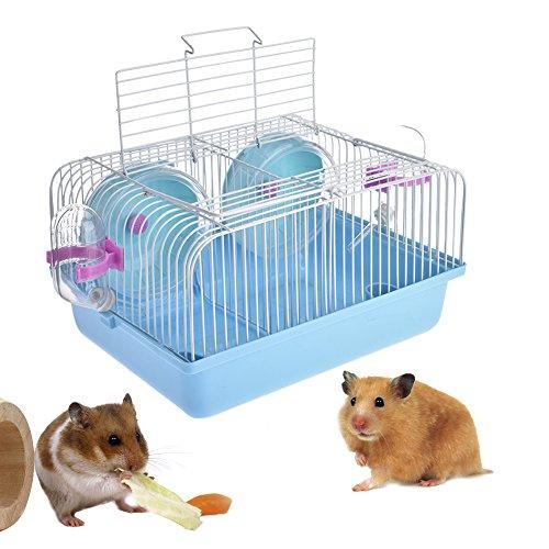 Sue Supply Portabidón de viaje para hámster – 2 pisos duraderos y ligeros para hámster y ratón, con disco deslizante, botella giratoria para ratones y gerbos