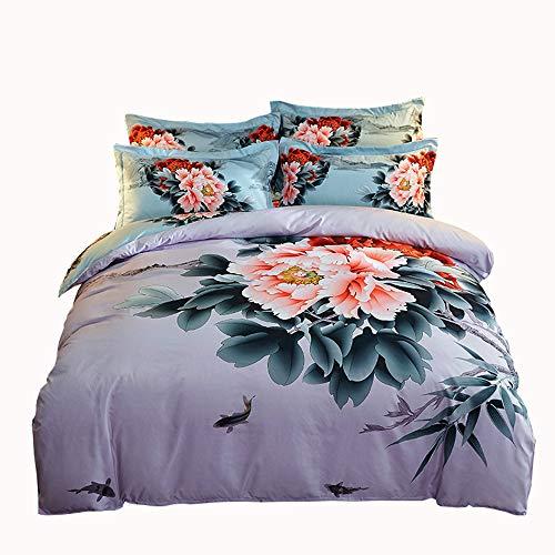 Wma-casa cotone carteggiatura spigato grande stampa attiva kit di cotone set da letto di 4