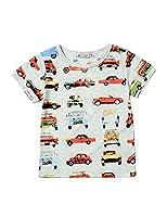 Car Print Boys T-shirts Short Sleeve Kids Tops 2-6 Years (2 years, White)