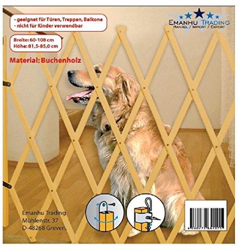 Hundeabsperrgitter Hundegitter Hundeabsperrung Treppenschutzgitter Türgitter Schutzgitter Barrieren Holz 85 x 108 cm - 4