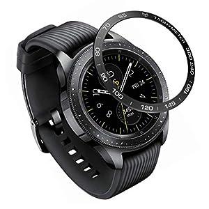 Dkings Edelstahl Lünette Ring kompatibel Galaxy Watch 42 mm/Gear Sport Lünette Schleife selbstklebende Abdeckung Anti Scratch & Collision Protector für Galaxy Watch Zubehör