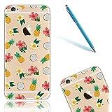 Funda para el Apple iPhone 6/6s, iPhone 6 Carcasa Cristal, CLTPY Case Dibujos Animados Silicona Suave, [Shock-Absorción] [Anti-Arañazos] Slim Caja para el iPhone 6s + 1 Aguja Azul - Piña y Flor