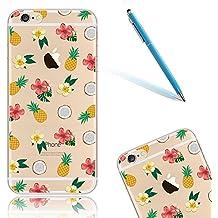 """Funda para el 5.5"""" Apple iPhone 6Plus/6sPlus (No iPhone 6/6s), iPhone 6sPlus Carcasa Cristal, CLTPY Case Dibujos Animados Silicona Suave, [Shock-Absorción] [Anti-Arañazos] Slim Caja para el iPhone 6Plus + 1 Aguja Azul - Piña y Flor"""