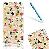 CLTPY Funda para el Apple iPhone 6/6s, iPhone 6 Carcasa Cristal, Case Dibujos Animados Silicona Suave, [Shock-Absorción] [Anti-Arañazos] Slim Caja para el iPhone 6s + 1 Aguja Azul - Piña y Flor