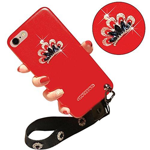 Glitter Étui Housse pour iPhone 6/6S (4.7 inch) + [Support d'Anneau], Bonice Cristal Clair Miroir Cas Case avec 360 Degrés Rotation Bague, Luxe Bling Sparkle Strass Souple Soft Gel TPU Caoutchouc Bump D - Rouge