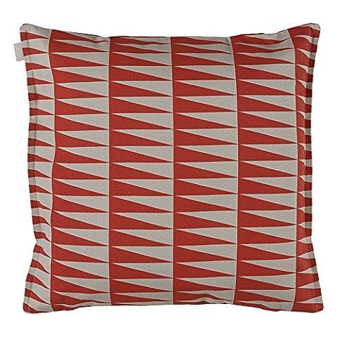 Linum Kissenhülle AKKA D74 rot beige bedruckt 50cm x 50cm aus Baumwolle mit Reißverschluss