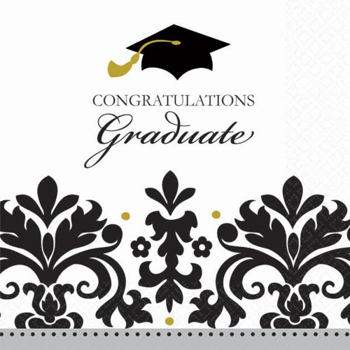 Amscan 220198 Black & White Grad Graduation Getr-nke Servietten