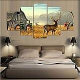 mbambm Toile Peinture Murale Art 5 Pièces Animal Whitetail Deers sur Ferme Bois Maison Tracteur Photos Prints Forêt Elk Affiche Home DecorPas De Cadre...
