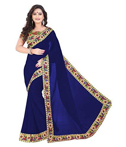 Trendy Shoppy Women's Chiffon Silk Saree (Blue)