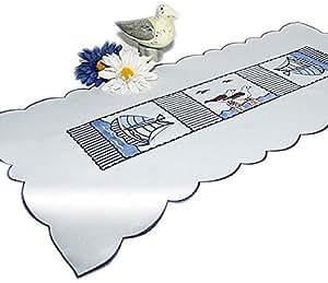 Nappe chemin de table décoratif motif marin bleu/blanc/motif brodé et mouettes seegelboot rectangulaire 40 x 90 cm